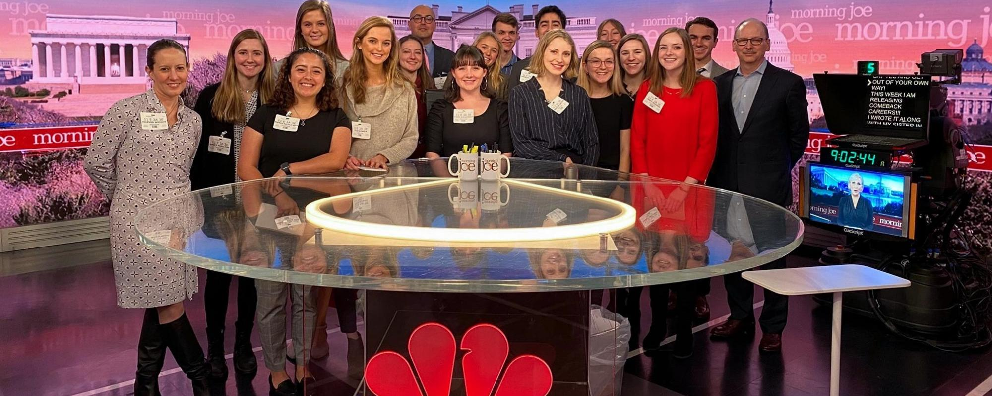 Student and NBC hosts behind desk on set